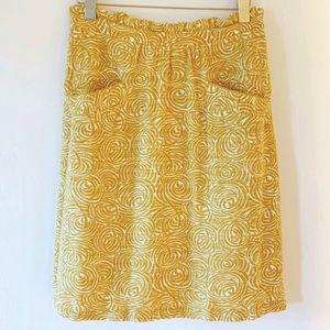 Elevenses Yellow Swirl Skirt Anthropologie Size 10